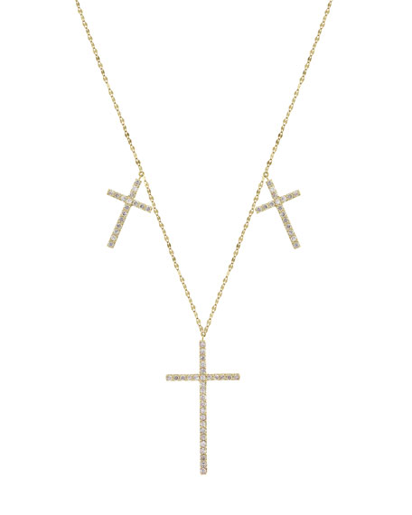 Flawless Triple Cross Necklace with Diamonds