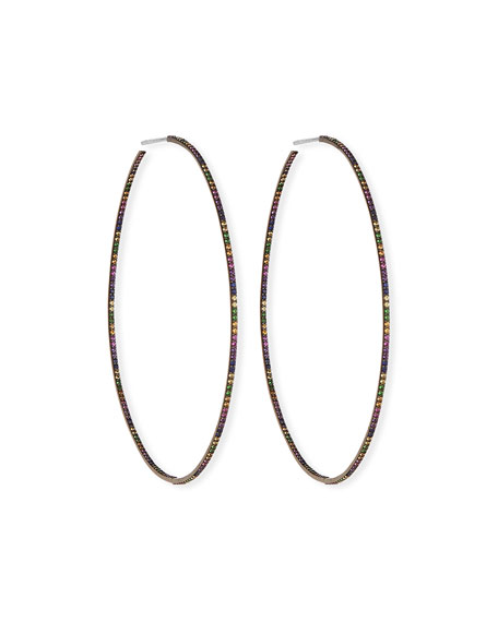 Electric Rainbow Sapphire Hoop Earrings in 14K Black Gold