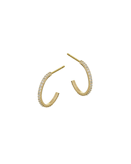 Flawless Mini Diamond Hoop Earrings in 14K Yellow Gold
