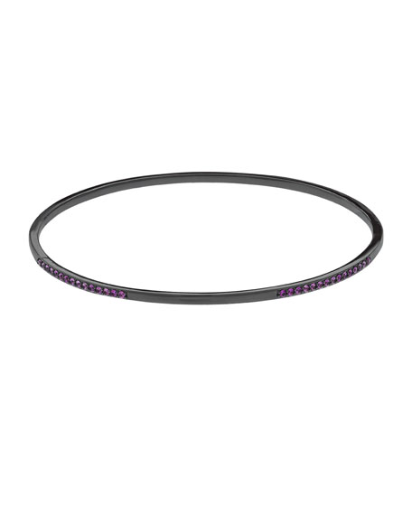 Electric Pink Sapphire Bangle in 14K Black Gold