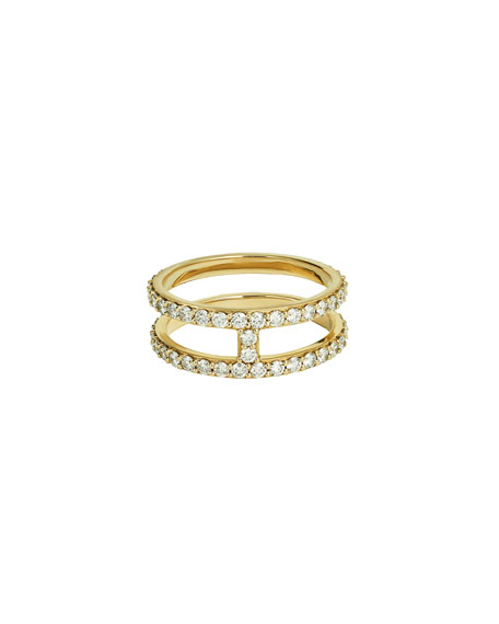 Flawless Double-Stack Band Ring with Diamonds, Size 7