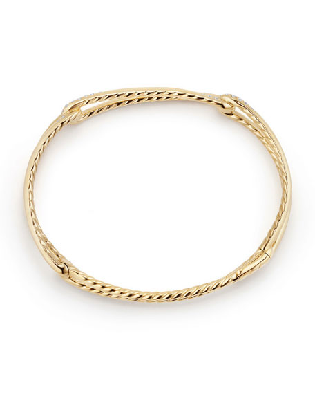 9mm Continuance 18K Gold Bracelet with Diamonds, Size M