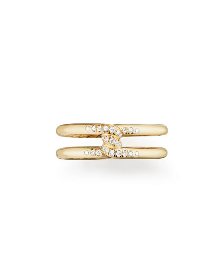 6.5mm Continuance 18K Gold Ring with Diamonds, Size 6