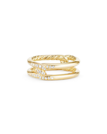 6.5mm Continuance 18K Gold Ring with Diamonds, Size 7