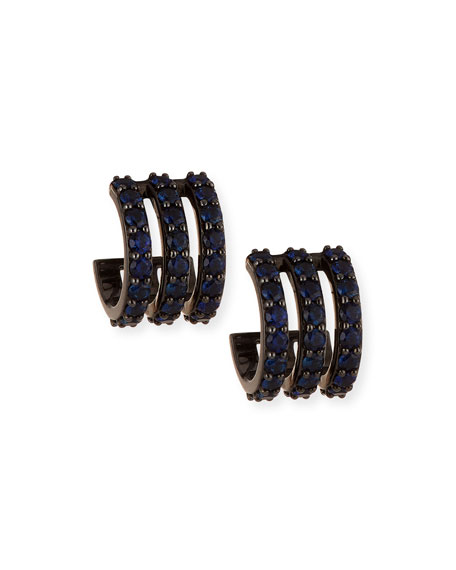 Electric 14K Black Gold Huggie Earrings with Blue Sapphires