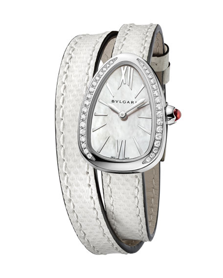BVLGARI Serpent Twist Mother-of-Pearl Snakeskin Wrap Watch with