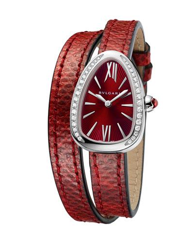 Serpent Twist Steel Snakeskin Wrap Watch with Diamonds