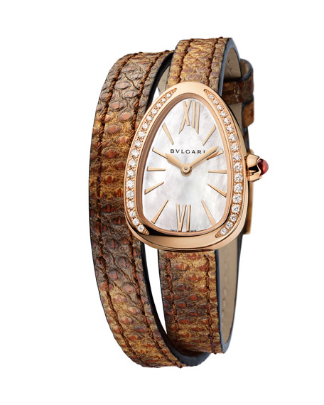 Serpent Twist 18K Rose Gold Snakeskin Wrap Watch with Diamonds