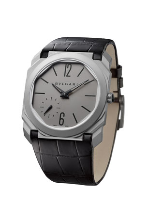 BVLGARI 40mm Octo Automatic Watch with Alligator Strap