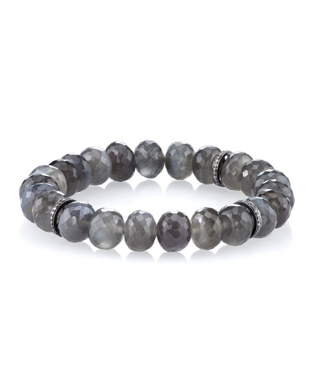 Sheryl Lowe 10mm Beaded Gray Moonstone Bracelet with