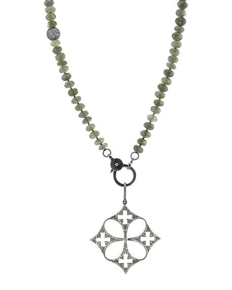 Gray Moonstone Beaded Necklace with Diamond Malta Cross Pendant