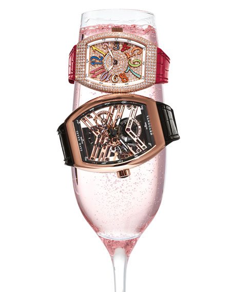 Lady Vanguard Diamond Watch with Embossed Rubber Strap
