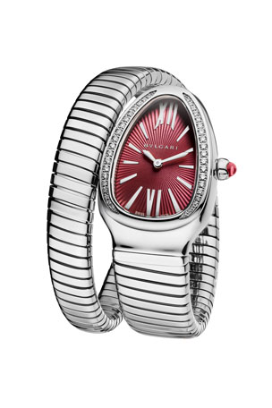 BVLGARI Serpenti Tubogas Wrap Watch with Diamonds, Silver/Violet