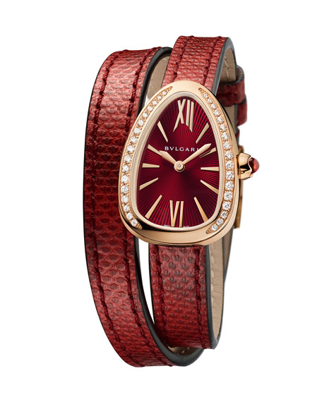 Serpenti 18K Rose Gold & Diamond Watch with Red Karung Wrap Strap