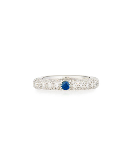 Pavé White Diamond Band Ring with Blue Sapphire in 18K White Gold