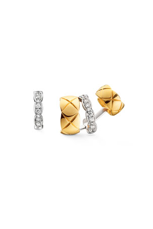CHANEL COCO CRUSH EARRINGS IN 18K WHITE AND YELLOW GOLD WITH DIAMONDS