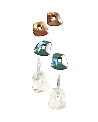 Diamond-Trimmed Puzzle Hoop Earrings, Brown/White/Gray