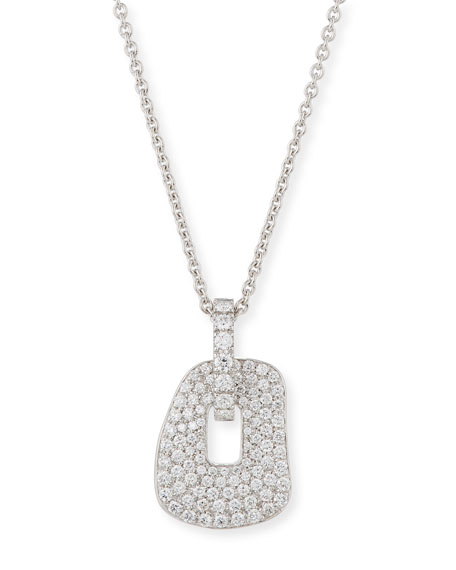 Puzzle Diamond Pendant Necklace in 18K White Gold