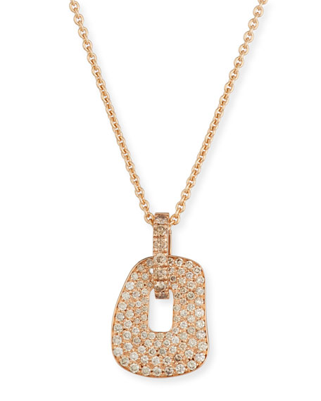 Puzzle 18K Rose Gold Pendant Necklace with Champagne Diamonds