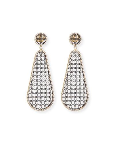 Teardrop Lace Design Earrings with Diamonds