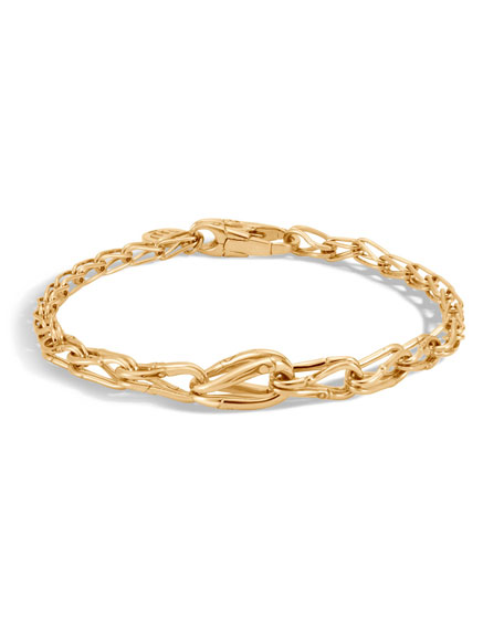 18k Bamboo Graduated Link Bracelet, Size M