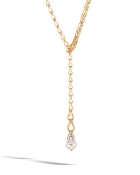 Bamboo 18K Pearl Lariat Necklace with Diamonds