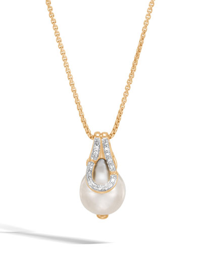 Bamboo 18K Pearl Pendant Necklace with Diamonds