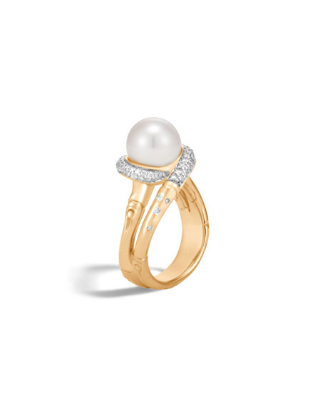 Bamboo Pearl 18K Gold Ring with Diamonds, Size 7