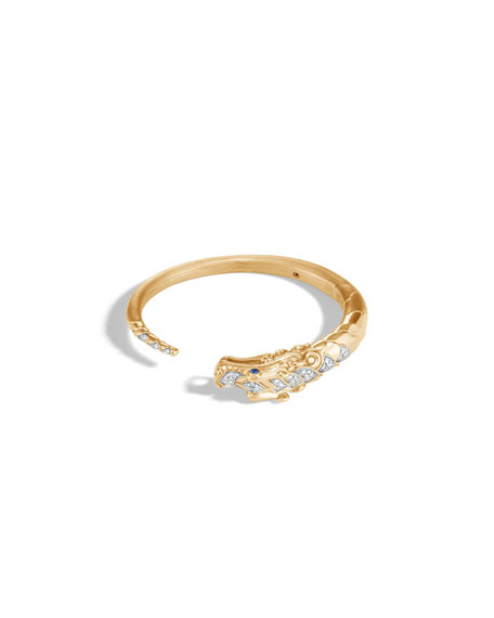 Legends Naga 18K Bracelet with Diamonds & Blue Sapphire, Size S