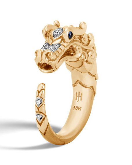 Legends Naga 18k Brushed Gold Ring with Diamonds, Size 8