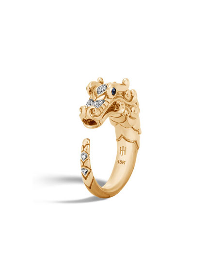 Legends Naga 18k Brushed Gold Ring with Diamonds, Size 6