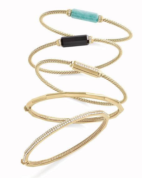 18K Gold Barrel Bracelet with Diamonds, Size M
