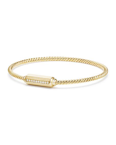 18K Gold Barrel Bracelet with Diamonds, Size L