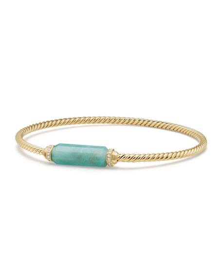 David Yurman Amazonite Barrel & Diamond Bracelet, Size