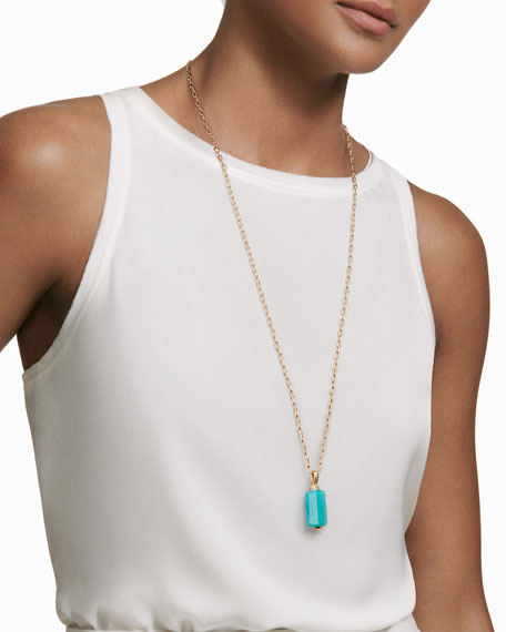 18K Gold Long Amazonite Barrel Pendant Necklace with Diamonds, 32""