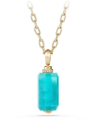 18K Gold Long Amazonite Barrel Pendant Necklace with Diamonds, 32