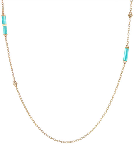 Faceted Amazonite Barrel Pendant Necklace with Diamonds, 36""
