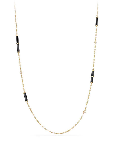 18K Gold Long Black Onyx Barrel Station Necklace with Diamonds, 36""
