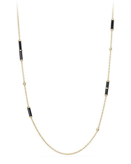 """18K Gold Long Black Onyx Barrel Station Necklace with Diamonds, 36"""""""