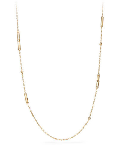 18K Gold Long Barrel Station Necklace with Diamonds, 36