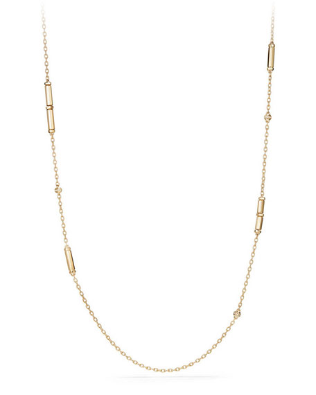 "18K Gold Long Barrel Station Necklace with Diamonds, 36"""