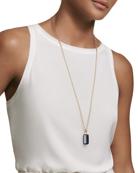 Faceted Onyx Barrel Pendant Necklace with Diamonds, 32""