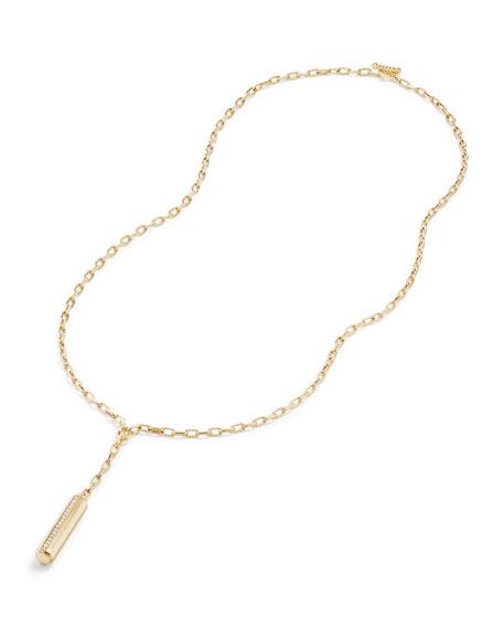 Faceted Barrel Y-Drop Necklace with Diamonds