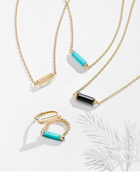 Faceted Barrel Necklace with Diamonds