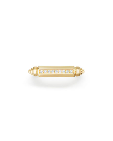 18K Gold Barrel Ring with Diamonds, Size 6