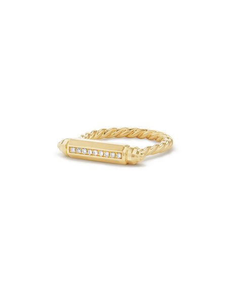 David Yurman 18K Gold Barrel Ring with Diamonds,