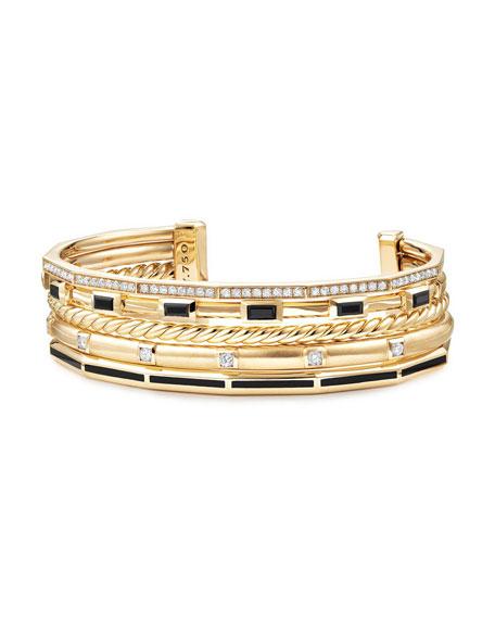 16.5mm Stax 18K Cuff Bracelet with Diamonds & Black Enamel, Size M