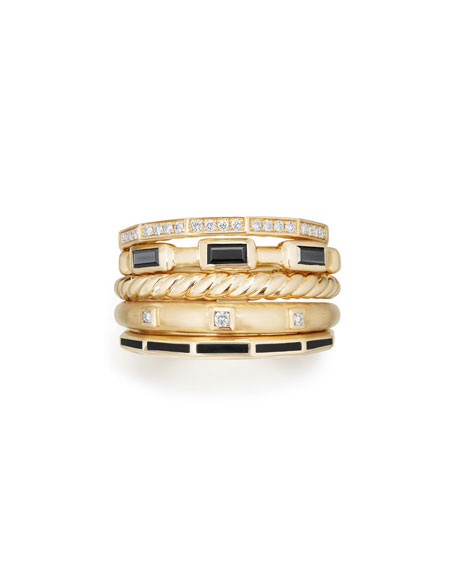 13mm Stax 18K Gold Five-Row Ring with Black Spinel & Diamonds, Size 7