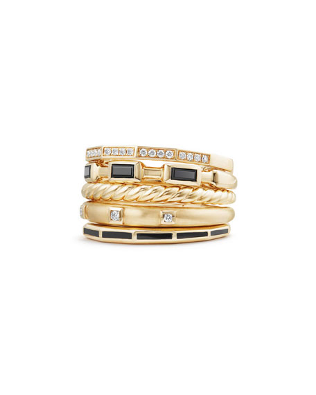 David Yurman 13mm Stax 18K Gold Five-Row Ring