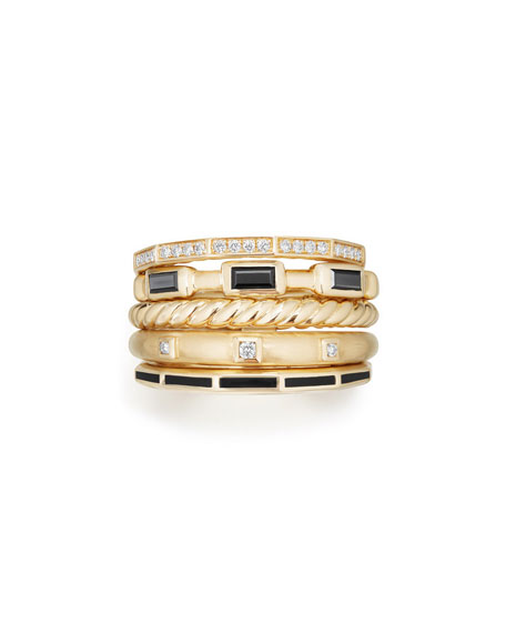 13mm Stax 18K Gold Five-Row Ring with Black Spinel & Diamonds, Size 8